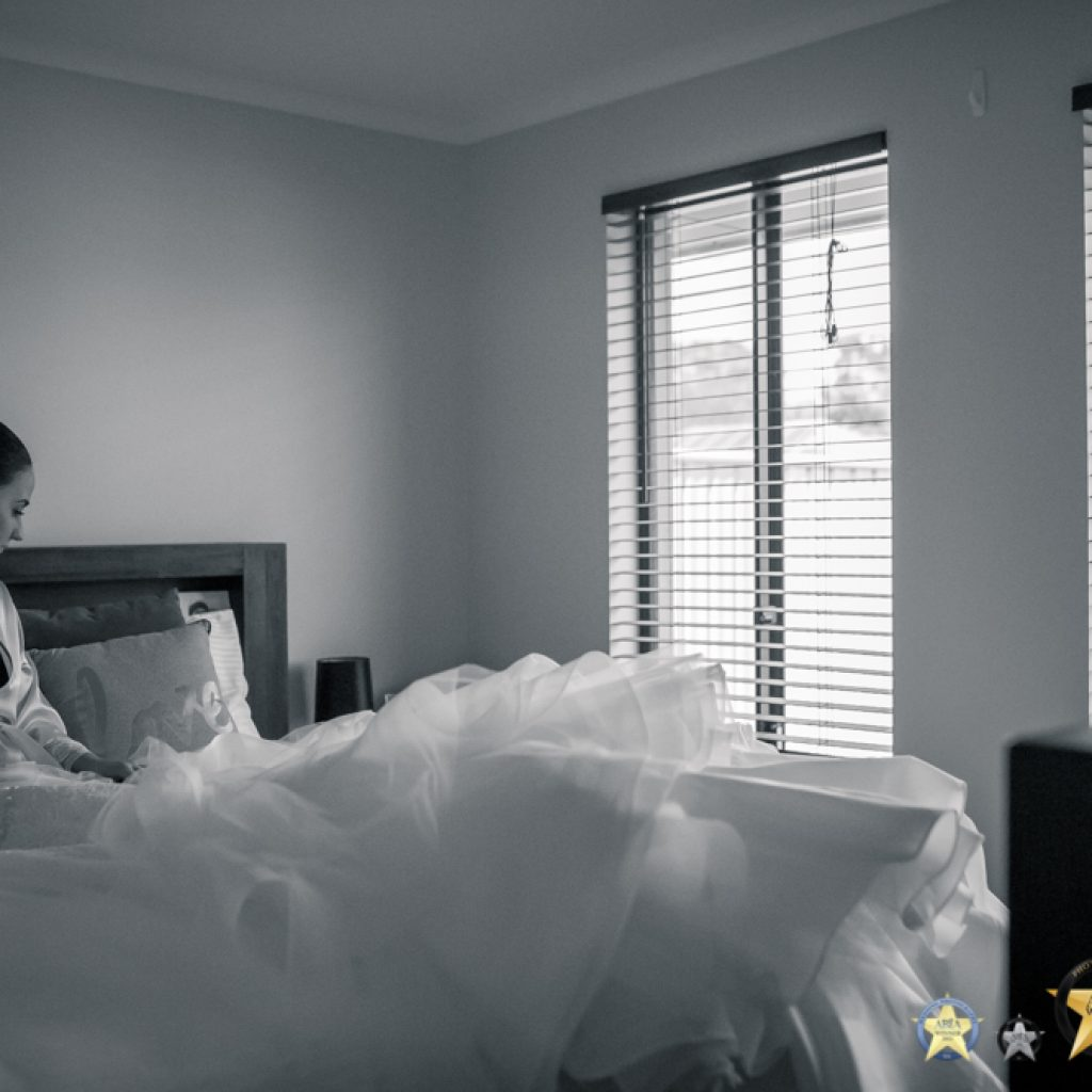 Bride Preparations in natural room light