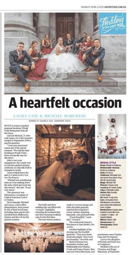 The Advertiser, Monday   Wedding Feature